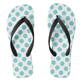 Aqua Polka Dots Thongs