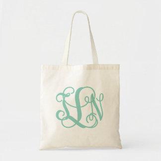 Aqua Preppy Script Monogram TLN Tote Bag