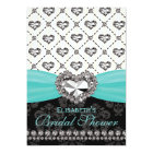 Aqua PRINTED Diamond Bridal Shower Invitation