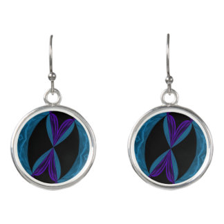Aqua Purple Black DNA Loops Earrings