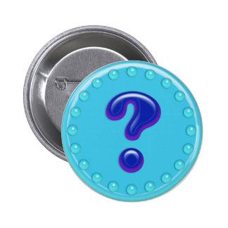 Aqua Question Mark Pinback Button