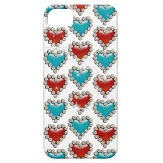 Aqua red heart pattern iPhone 5 cover