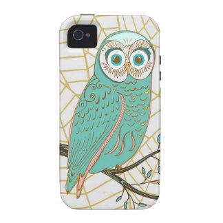 Aqua Retro Owl Design Case-Mate iPhone 4 Cover