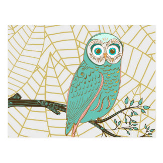 Aqua Retro Owl Design Postcard