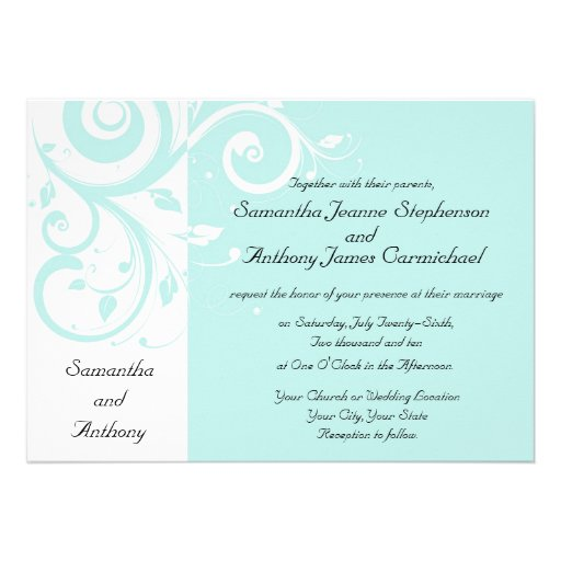 Aqua Reverse Swirl Wedding Invitations