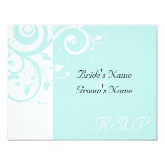 Aqua Reverse Swirl Wedding Matching RSVP 11 Cm X 14 Cm Invitation Card