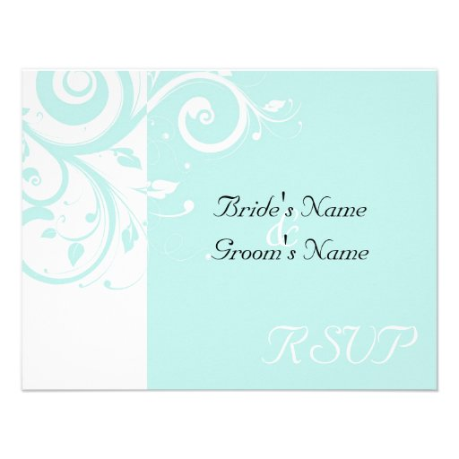 Aqua Reverse Swirl Wedding Matching RSVP Personalized Invite