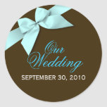 Aqua Ribbon Save The Date Wedding Announce Round Stickers