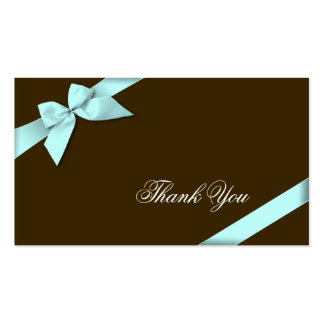 Aqua Ribbon Thank You Minicard Business Cards