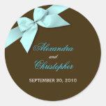 Aqua Ribbon Wedding Invitation Announcement Stickers