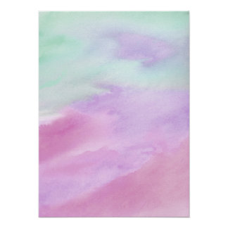Aqua Rose Abstract Watercolor Acrylic Poster