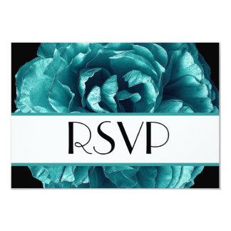 Aqua Rose RSVP Wedding Response Card Small 9 Cm X 13 Cm Invitation Card