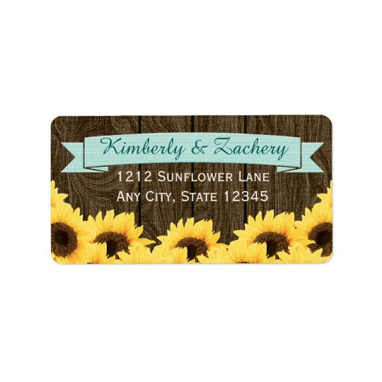 AQUA RUSTIC SUNFLOWER RETURN ADDRESS LABEL