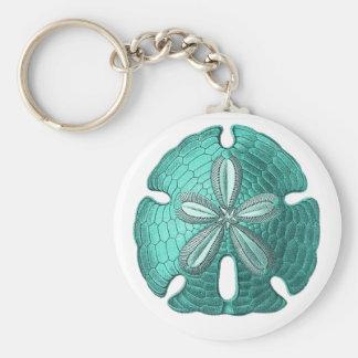 Aqua Sand Dollar Key Ring