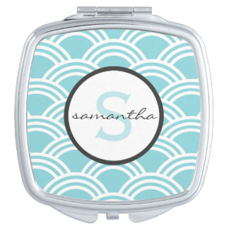 Aqua Scallop Monogram Makeup Mirror