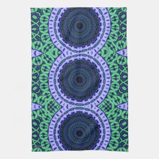 Aqua Seahorse Kaliedescope Pattern Tea Towel