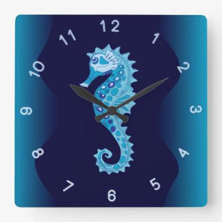 Aqua Seahorse Wall Clock