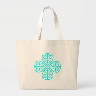 aqua shamrock celtic knot canvas bag