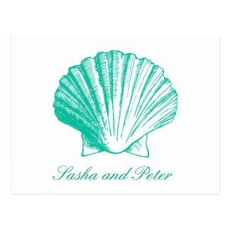 Aqua Shell Beach Wedding RSVP Postcard
