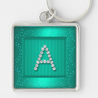 Aqua Shimmer and Sparkle with Monogram Key Chains