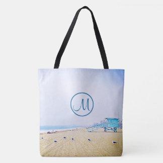 Aqua sky and sandy beach photo custom monogram tote bag