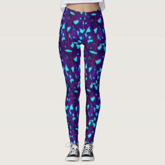 Aqua Splotches on Deep Purple Leggings