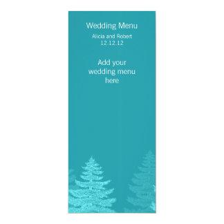 Aqua Spruce Trees Winter Wedding Menu Card