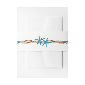 Aqua Starfish and Nautical Rope Wedding Invitation Belly Band