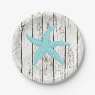 Aqua Starfish Your Color Wood Personalize Paper Plate