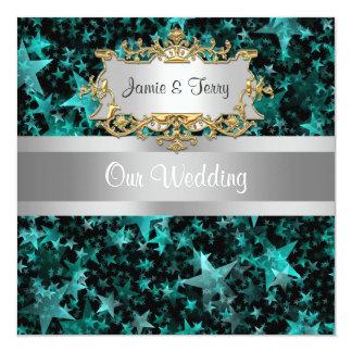 Aqua Stars Gray Ribbon  Wedding Invitation