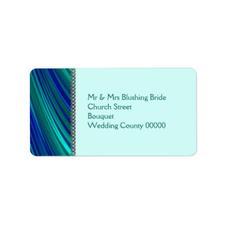 Aqua stripe, silver chain address label
