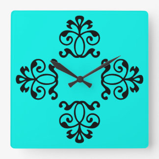 Aqua Striped Floral Vintage Style Square Wall Clock