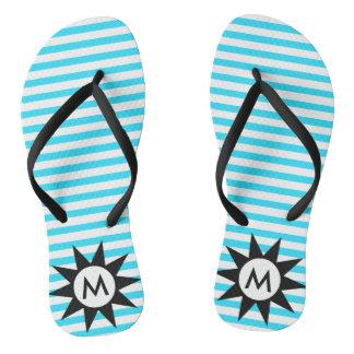 Aqua Striped Initial Letter Flip Flops
