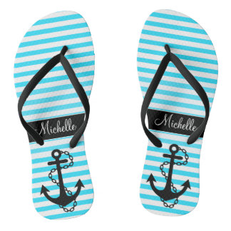 Aqua Striped Name with Anchor Flip Flops