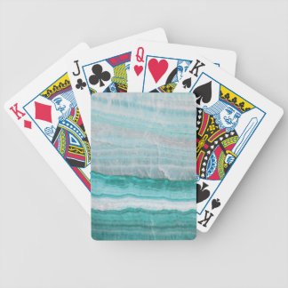 Aqua Striped Quartz Crystal Bicycle Playing Cards