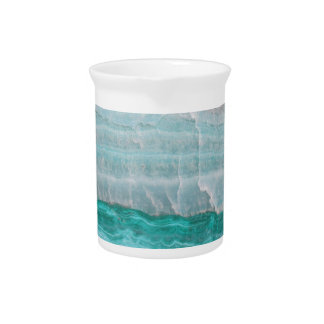Aqua Striped Quartz Crystal Pitcher