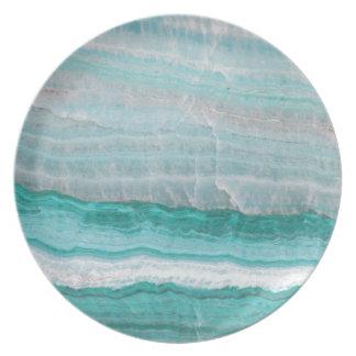 Aqua Striped Quartz Crystal Plate