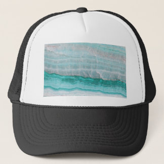 Aqua Striped Quartz Crystal Trucker Hat
