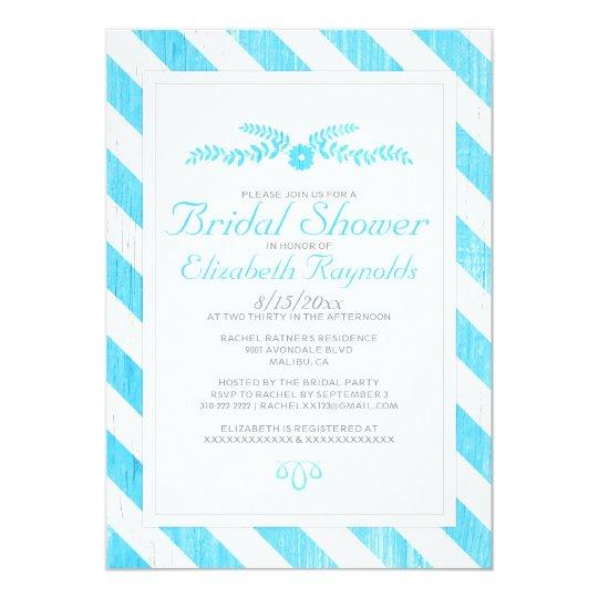 Aqua Stripes Bridal Shower Invitations