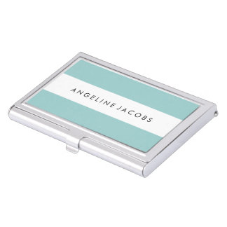 Aqua Stripes Business Card Case