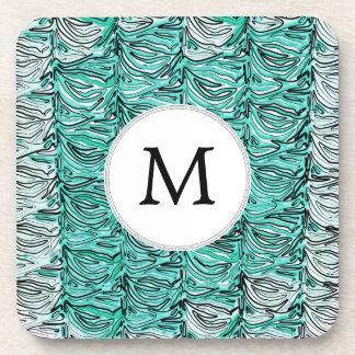 Aqua Stylized zebra print Drink Coaster