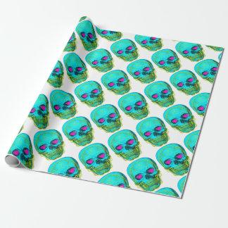 Aqua Sugar Skull Wrapping Paper