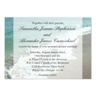 Aqua Surf Crashing Water Beach Destination Wedding 13 Cm X 18 Cm Invitation Card