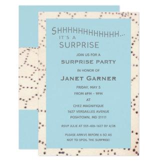 Aqua Surprise Birthday Custom Age Invitation