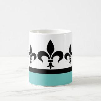 Aqua Swanky Fleur De Lis Mug