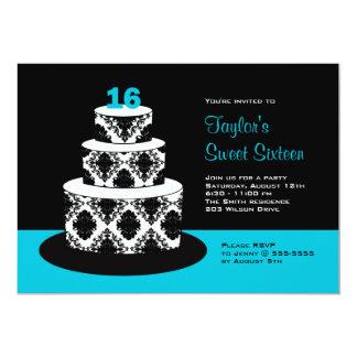 Aqua Sweet 16 Birthday Party Invitations