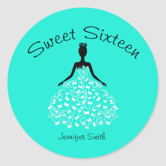 Aqua Sweet Sixteen Butterfly Gown Envelope Seals Round Sticker