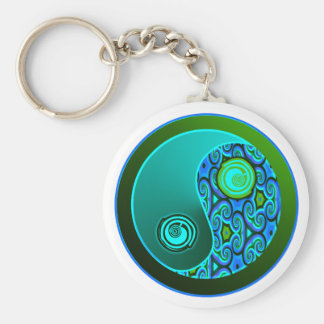 Aqua Swirls Yin Yang Basic Round Button Key Ring