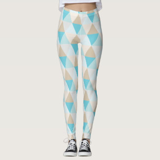 Aqua tan trendy triangle pattern leggings