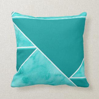 Aqua Teal Abstract Geometric Cushion